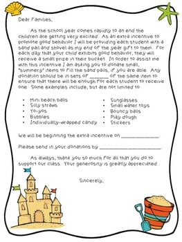 End of the Year Beach Pail Behavior Incentive