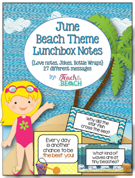 End of the Year Beachy Lunchbox Notes, Jokes, and Bottle Wraps