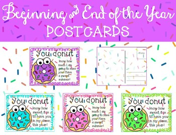 Back to School Beginning of the Year End of the Year Postcards