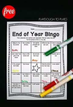 End of the Year Bingo - FREE