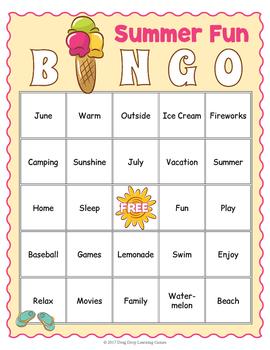 End of the Year Bingo Game: Summer Fun!
