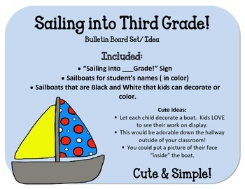 End of the Year Board.  Boats.  Sailing into Kindergarten 1st 2nd 3rd 4th 5th