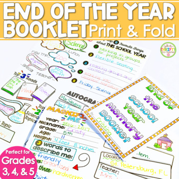 End of the Year Book Fold-and-Go Booklet for ANY Grade (Generic) No Cut No Prep