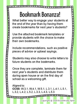 Bookmark Bonanza! An End of the Year Activity