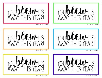 photograph regarding You Blew Me Away This Year Free Printable known as Close of the 12 months Bubble Reward Tag