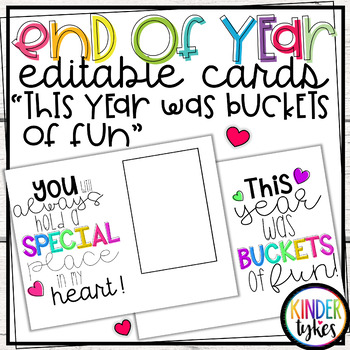 "End of the Year ""Buckets of fun"" Editable card"