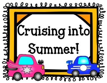 End of the Year Bulletin Board.  Cars.  Cruising into Summer!