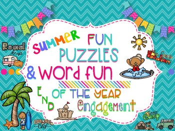 End of the Year Bundle: 15 Fun Summer Puzzles to Keep Kids Engaged-No Prep!