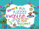 End of the Year Fun: 15 Summer Puzzles to Keep Kids Engaged-No Prep!