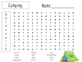 End of the Year Camping Word Search