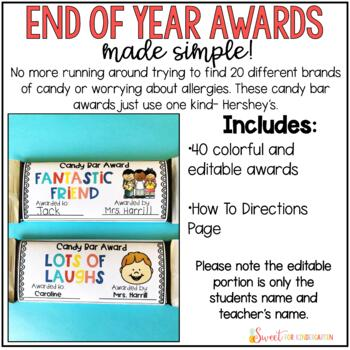 End of the Year Candy Bar Editable Awards