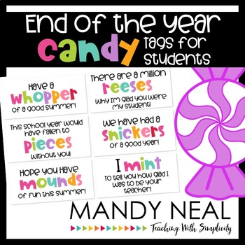 End of the Year Candy Bar Gifts for Students