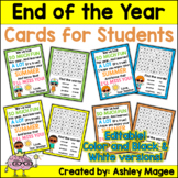End of the Year Cards for Students - Editable in color & b