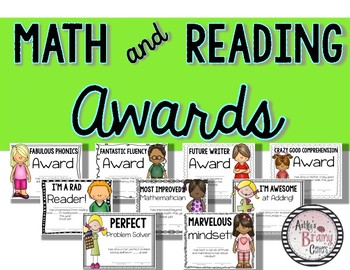End of the Year Certificates (Awards for Reading, Math, and Motivation)