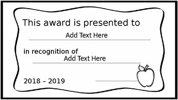 End of the Year Certificates - Editable
