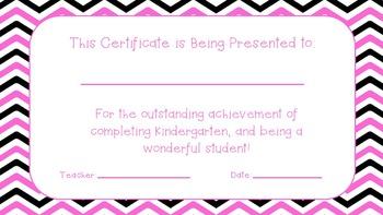 End of the Year Certificates! KINDERGARTEN!