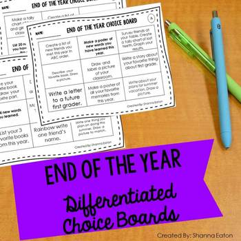 End of the Year Choice Board