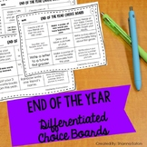 End of the Year Choice Board - First Grade