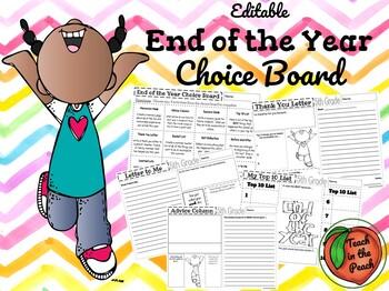 End of the Year Choice Board **EDITABLE**