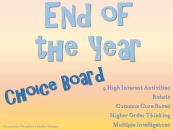 End of the Year Choice Board Project Activities Menu Tic Tac Toe