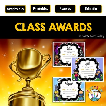 End of the Year Class Awards | Character Traits Awards {EDITABLE}