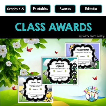 End of the Year Class Awards Lovable Bugs {EDITABLE}