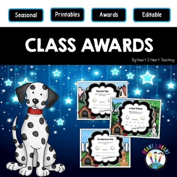 End of the Year Class Awards Lovable Dogs {EDITABLE}
