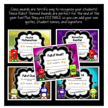 Robot Themed End of the Year Awards | Character Trait Awards {EDITABLE}