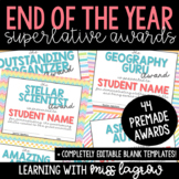 End of the Year Class Editable Bright Superlative Awards a