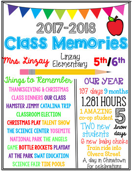 End of the Year Class Memories Sign