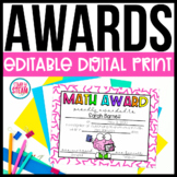End of the Year Classroom Awards | EDITABLE | Digital and Print