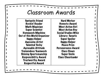 end of the year classroom awards students vote by sara oberheide