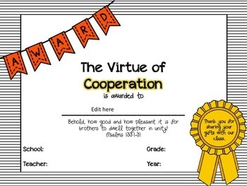 End of the Year Classroom Virtue Awards (Christian with Scripture Passages)