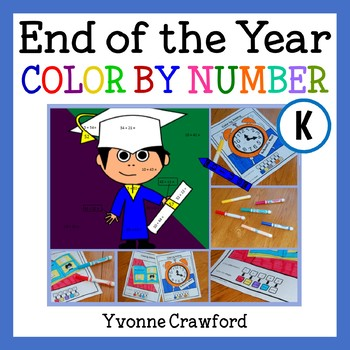 End of the Year Color by Number (kindergarten)  Color by Number and Shapes