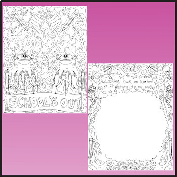 End of the Year Coloring Sheets. Zen Doodle Pages.