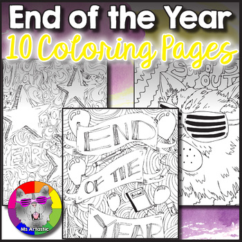 End of the Year Coloring Pages, Zen Doodles by Ms Artastic | TpT