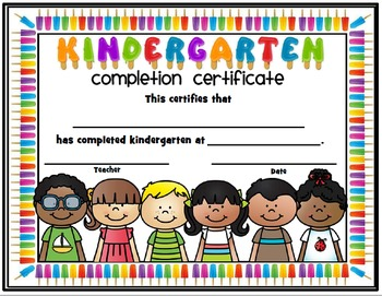 End of the Year Completion Certificates - Preschool thru Fifth Popsicle Themed