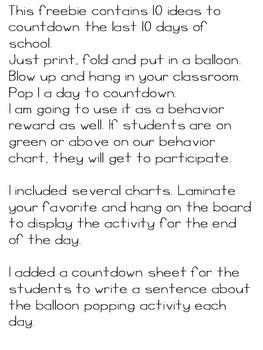 End of the Year Countdown! Balloon Pop Activity/Behavior Management Idea
