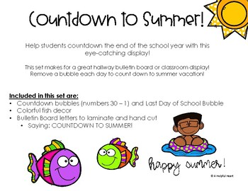 End of the Year Countdown Bulletin Board