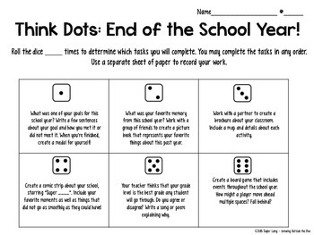End of the Year Critical Thinking/Bloom's Taxonomy Think Dots