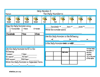 Daily Number- Spring 2 Levels-with Hundreds, Tens and Ones-2nd Grade Review