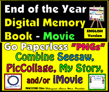 End of the Year Digital Memory Book- iMovie PNGs for Seesaw PicCollage My Story