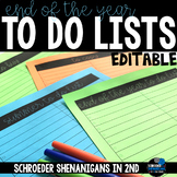 End of the Year EDITABLE to do lists