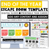 End of the Year Escape Room Template | Digital Slides | Printable Task Cards