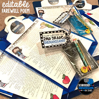 End of the Year FAREWELL POEM to students - EDITABLE