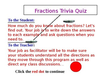 End of the Year FREE Fractions Trivia Quiz PREVIEW (PowerPoint)
