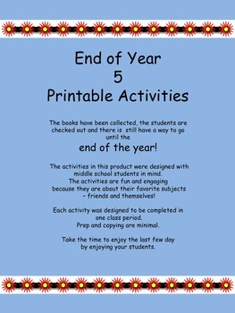 graphic about End Year Printable Activities titled Stop of the Yr Exciting Things to do for Center College or university