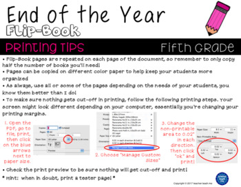 End of the Year – Fifth Grade - Flip-Book