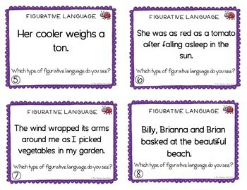 End of the Year Figurative Language Task Cards for 4th - 5th Grade