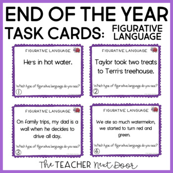 End of the Year Figurative Language Task Cards for 4th - 5